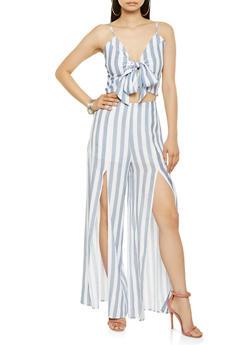 Striped Crop Top and Split Leg Palazzo Pants Set - 3413062700038