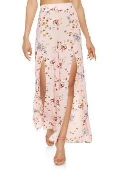 Floral Split Leg Palazzo Pants - 3413062700114