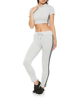 Varsity Stripe Crop Top and Pants Set - GRAY - 3413062701800