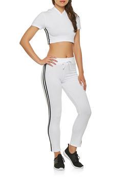 Varsity Stripe Crop Top and Pants Set - WHITE - 3413062701800
