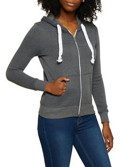 Zip Front Fleece Sweatshirt - 3413062703056