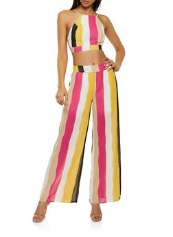 Stripe Tie Back Crop Top and Palazzo Pants Set - 3413062703135