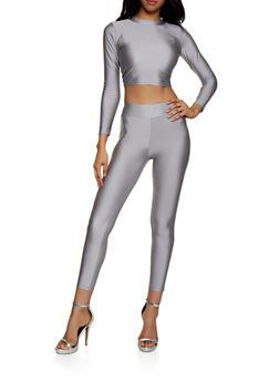 Spandex Crop Top with Leggings - 3413062703399