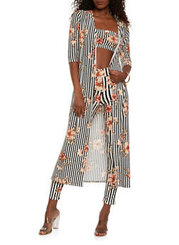 Floral Striped Duster with Bandeau and Leggings - 3413062707605