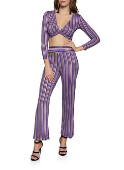 Vertical Stripe Palazzo Pants and Twist Front Crop Top - 3413062709361