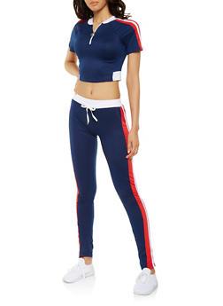 Side Stripe Activewear Crop Top and Pants Set - NAVY - 3413062709806