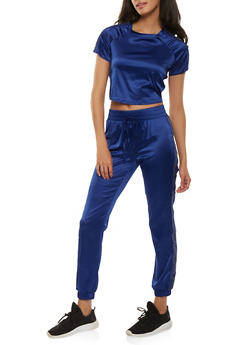 Satin Cropped Tee and Sweatpants Set - NAVY - 3413062709808