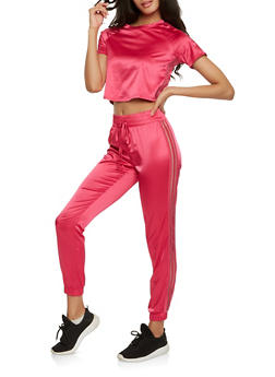 Satin Cropped Tee and Sweatpants Set - PINK - 3413062709808