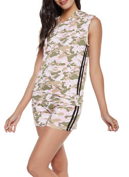 Soft Knit Camo Hoodie and Shorts Set - 3413062709811