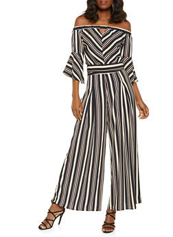 Striped Tie Back Crop Top and Palazzo Pants Set - BLACK - 3413062709983