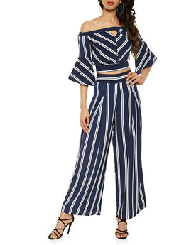 Striped Tie Back Crop Top and Palazzo Pants Set - 3413062709983