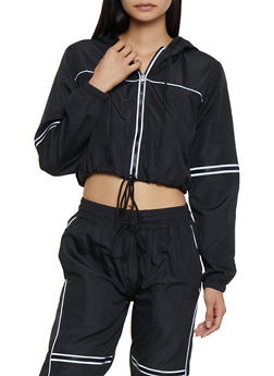 Contrast Trim Cropped Windbreaker - 3413063401160