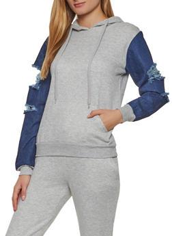 Denim Sleeve Pullover Sweatshirt - 3413063401396