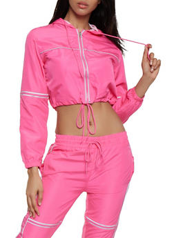 Contrast Trim Windbreaker | Fuchsia - 3413063404160