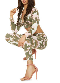 Cropped Camouflage Hooded Sweatshirt - 3413063408892