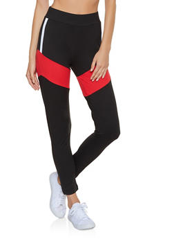 Soft Knit Color Block Leggings - 3413063409998