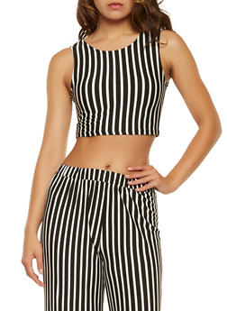 Striped Cropped Tank Top - 3413066492885