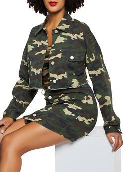 Camo Cropped Jean Jacket - 3413068193333
