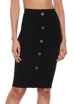 Button Pencil Skirt - 3413068195010