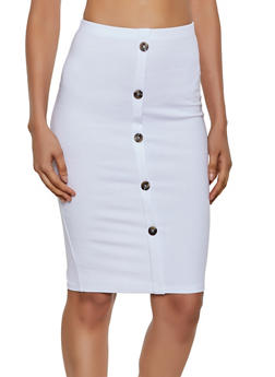 Button Pencil Skirt - 3413068195010