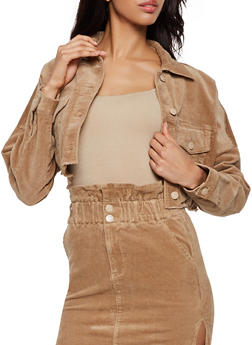 Corduroy Raw Hem Cropped Jacket - 3413068198080