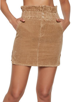 Corduroy Paper Bag Waist Skirt - 3413068198181