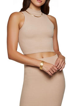 Ribbed Mock Neck Top - 3413068198282