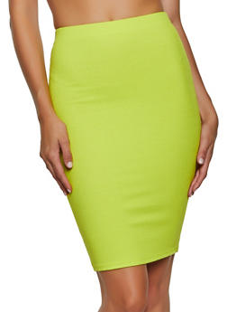 Ribbed Pencil Skirt - 3413068198383
