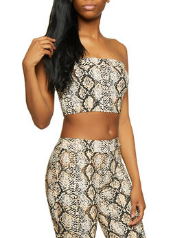 Snake Print Stretch Bandeau Top - 3413068510514