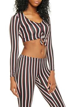 Striped Tie Front Crop Top - 3413068510959