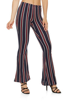 Striped Soft Knit Flared Pants - 3413068511350