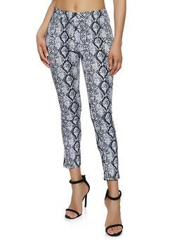 Snake Print Stretch Dress Pants - 3413068511742