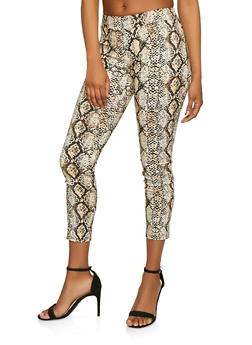 Snake Print Stretch Dress Pants - 3413068511742