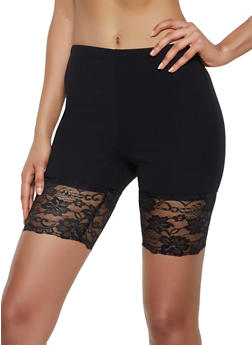 Knit Lace Trim Bike Shorts - 3413068511757