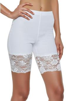 Knit Lace Trim Bike Shorts - 3413068511757