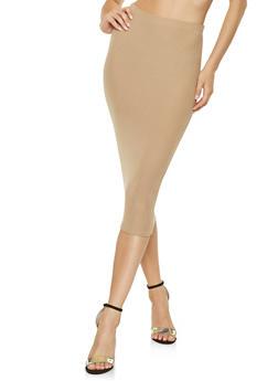 Soft Knit Midi Pencil Skirt - 3413068512579