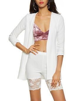 Textured Knit Ruched Sleeve Blazer - 3413068513809