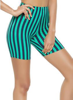 Striped Soft Knit Bike Shorts - 3413068513841