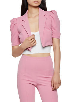 Cropped Crepe Knit Blazer - 3413068515738