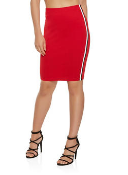 Striped Trim Ponte Pencil Skirt - 3413068516055