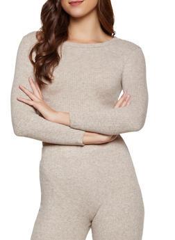 Long Sleeve Rib Knit Top - 3413069390002