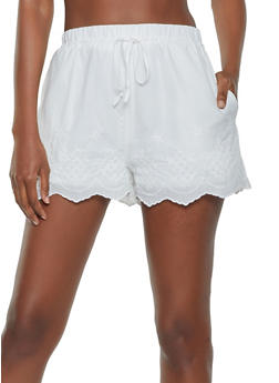Embroidered Scalloped Hem Shorts - 3413069390046