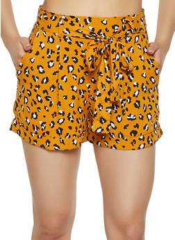 Leopard Tie Front Shorts - 3413069390072