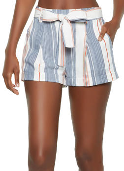 Striped Linen Tie Front Shorts - 3413069390089