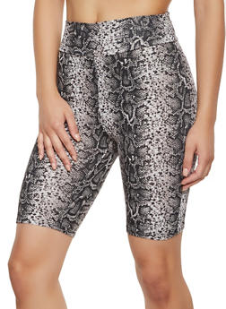 Snake Print Rib Knit Bike Shorts - 3413069390093
