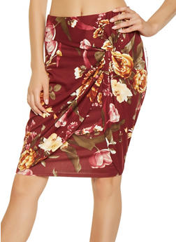 Floral Twist Front Pencil Skirt - 3413069390238