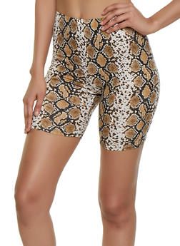 Snake Print Soft Knit Bike Shorts - 3413069390303