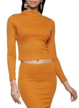 Long Sleeve Mock Neck Top - 3413069390370