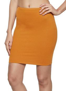 Ribbed Midi Pencil Skirt - 3413069390371
