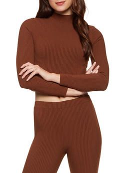 Ribbed Long Sleeve Mock Neck Top - 3413069390415